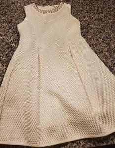 Monteau girls white dress, pearl rhinestone neck